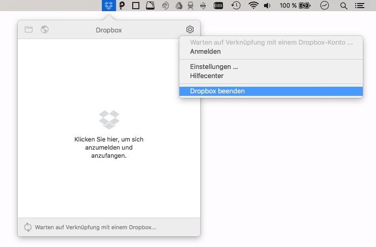 Alle Dropbox-Apps abmelden.