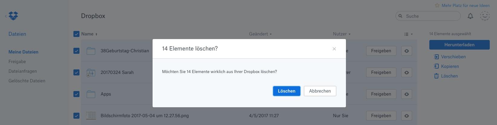 Wenn alles im Google Drive ist: Alles aus der Dropbox löschen.