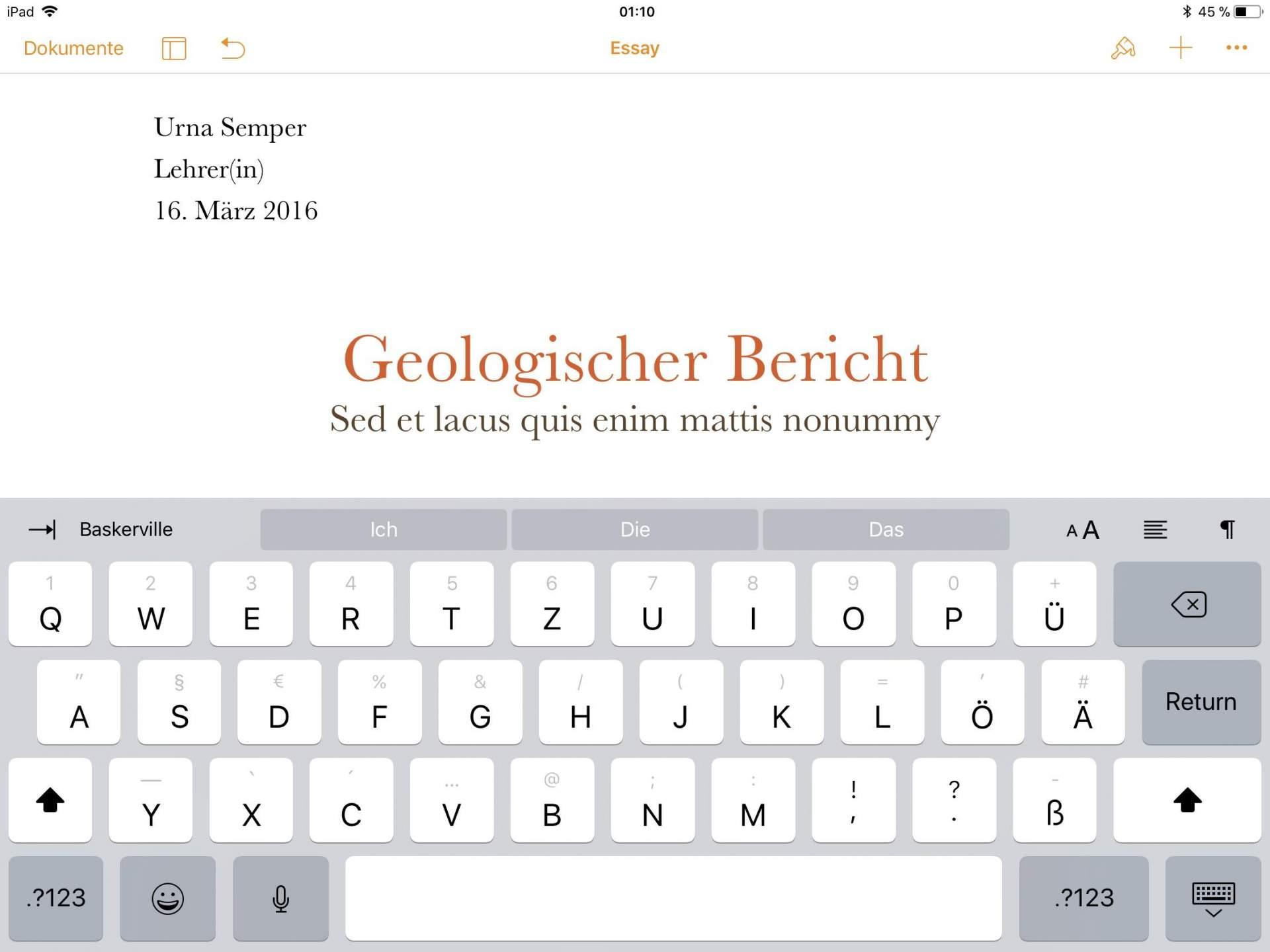 Pages am iPad: Brauchbar, aber nicht für mich geeignet.