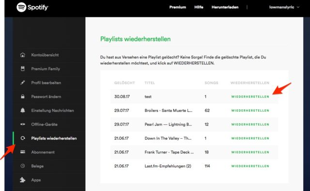 Playlisten wiederherstellen Spotify