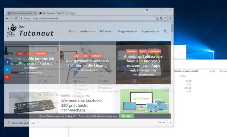 WindowTop Transparenz