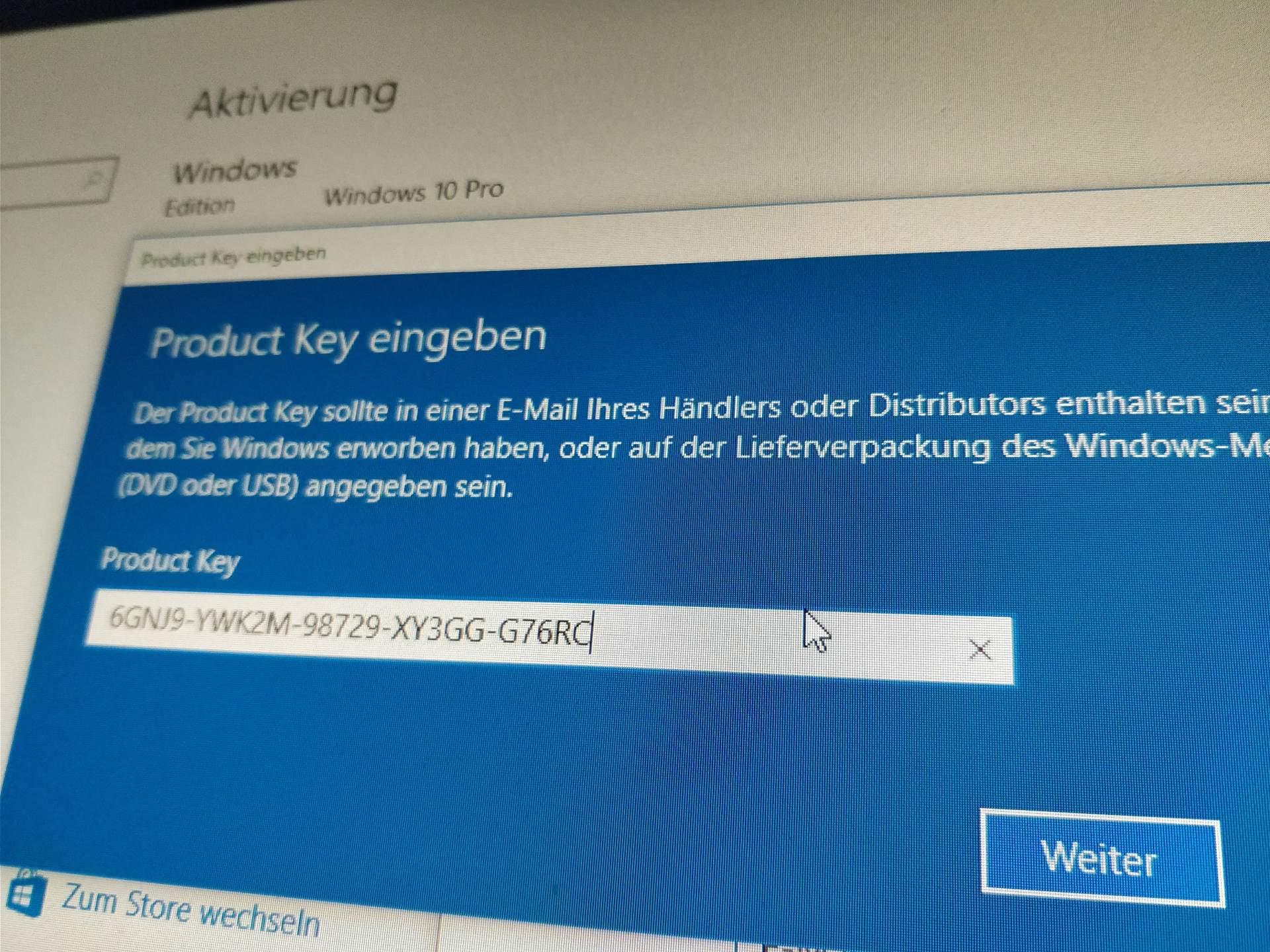 Windows 10 Key Aktivierung