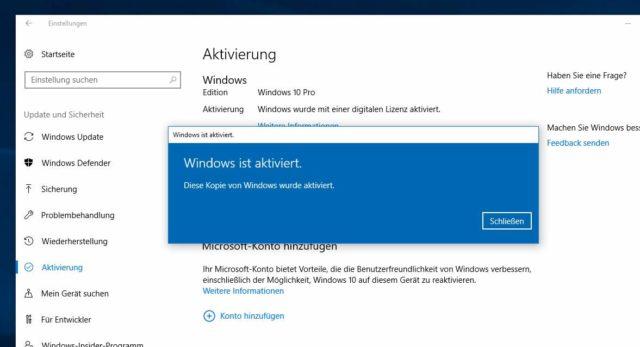 Windows 10 aktiviert