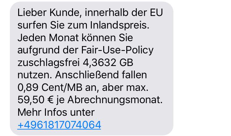 Durch die Fair-Use-Policy ist nicht das ganze Datenvolumen im Ausland nutzbar.