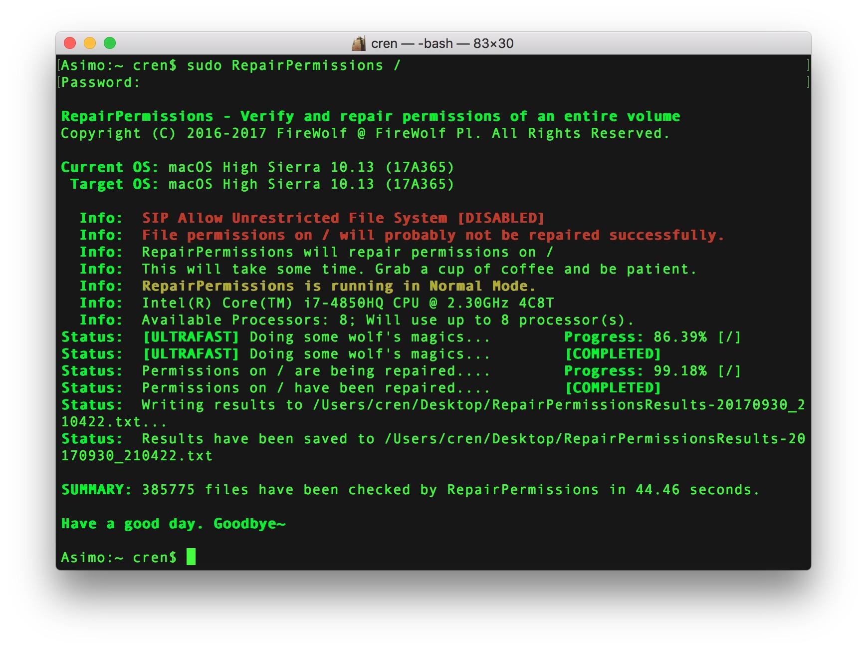 Mit dem Kommandozeilen-Tool Repair Permissions könnt Ihr die Rechte in MacOS reparieren.