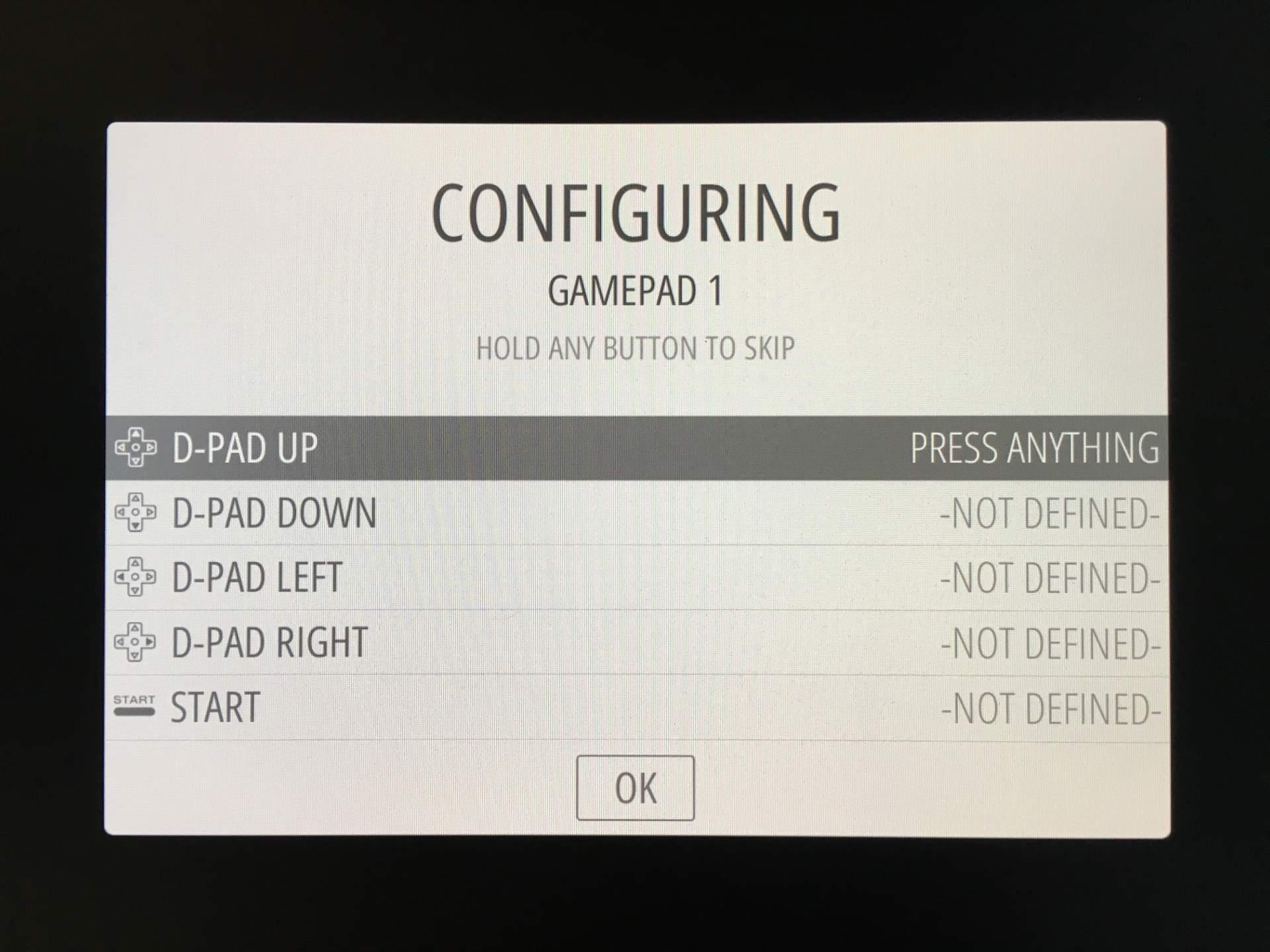 Das Gamepad wird automatisch erkannt. Ihr könnt es durch Druck auf die verschiedenen Buttons einrichten.