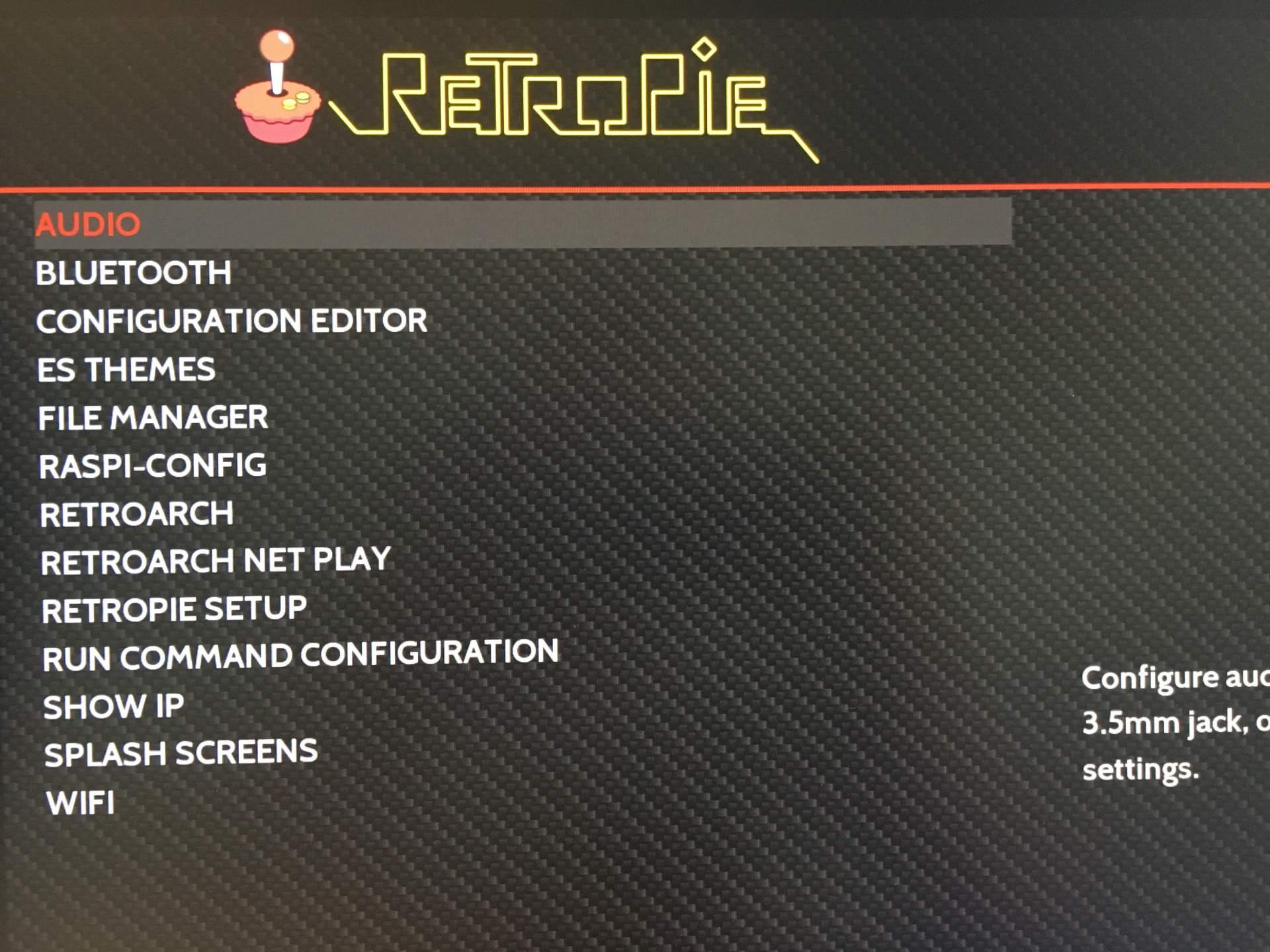 Das RetroPie-Hauptmenü.