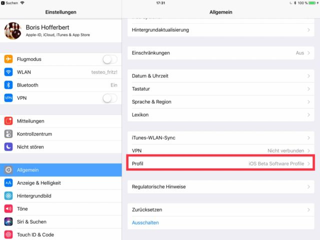 iOS-Betaprogramm iPad