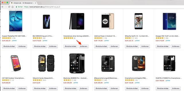 Amazon Suchverlauf