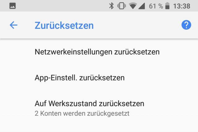Android Werkseinstellungen