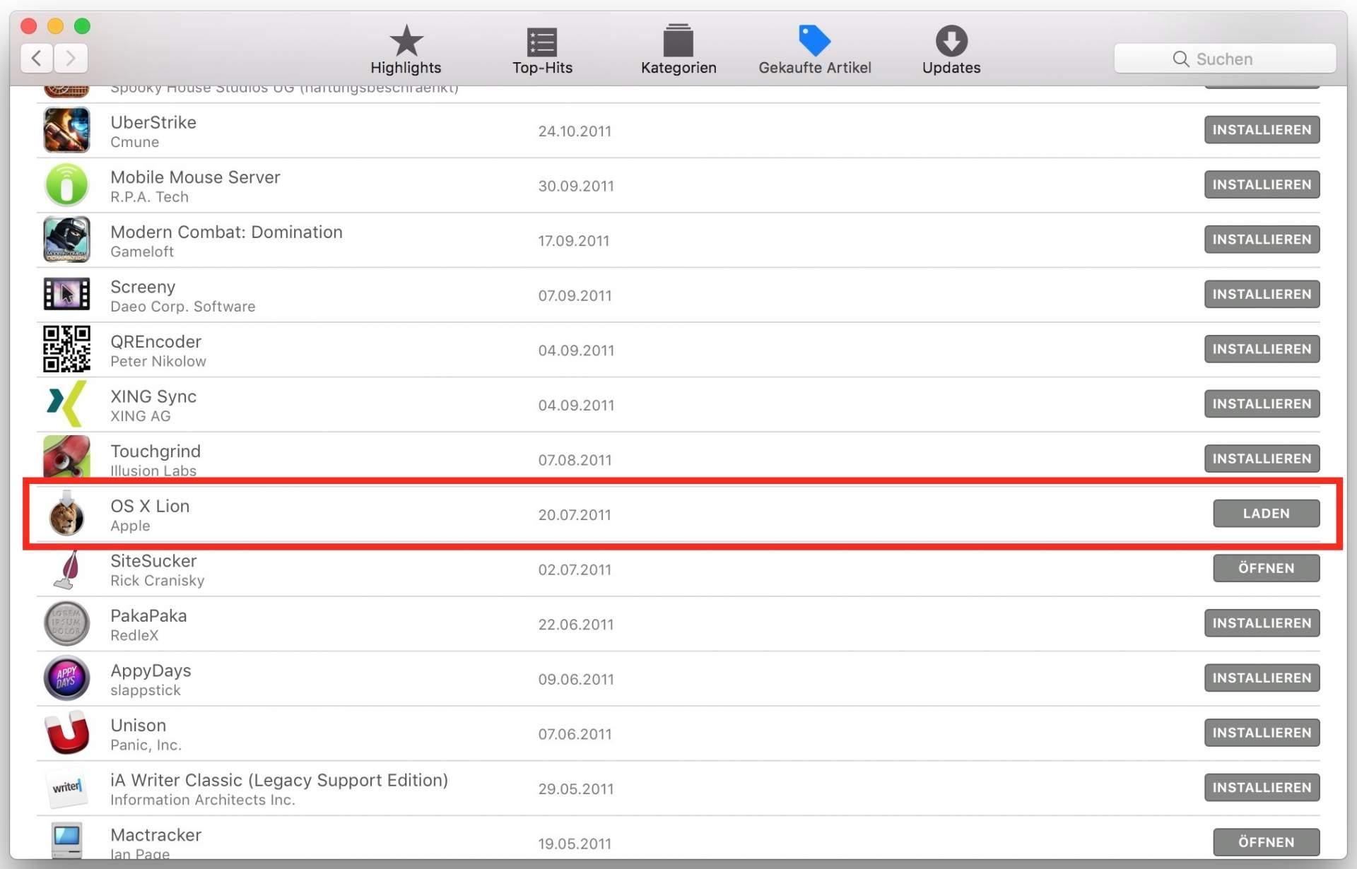 Alte Max OS X-Versionen sind im Appstore noch vorhanden....
