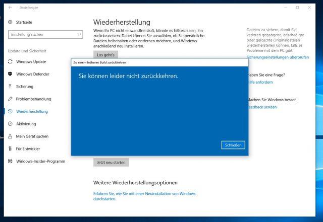 Windows 10 Update deinstallieren Fehler