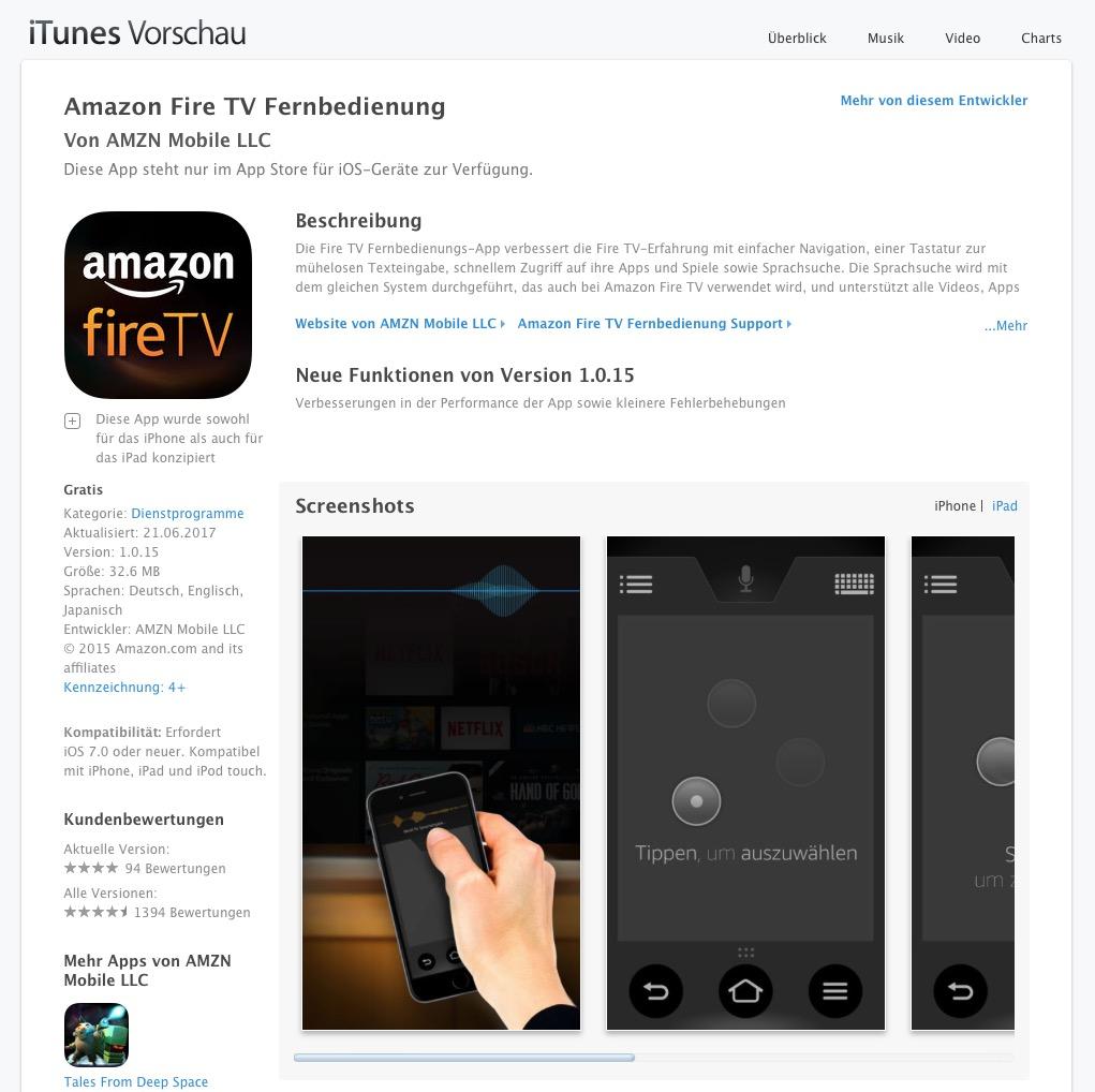Ihr findet die FireTV-Fernbedienung in den gängigen App-Stores.