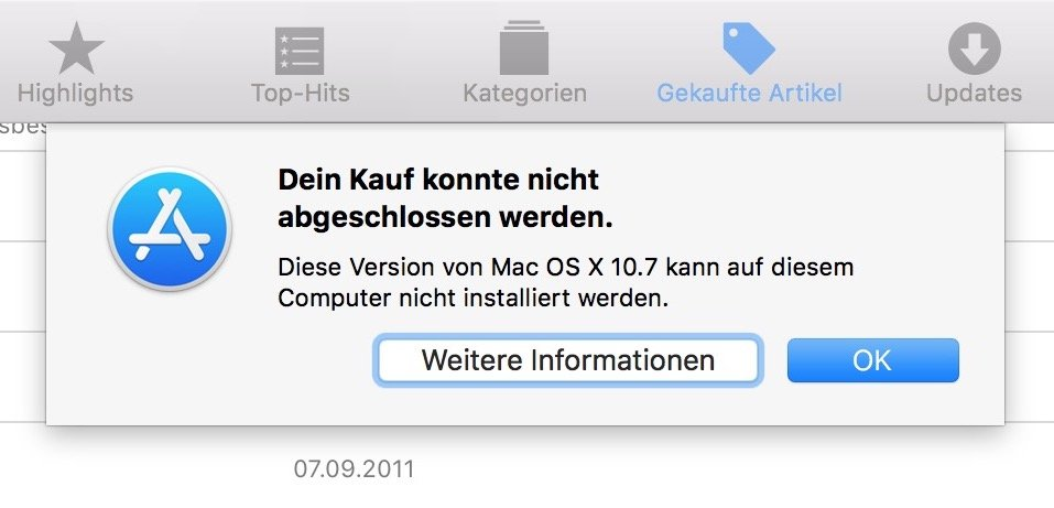 Leider weigert sich der AppStore, alte Mac OS X-Versionen auf neueren Macs zu laden.