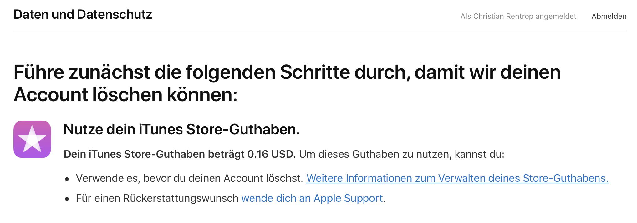 Restguthaben? Verschenkt es per Gutschein oder lasst es via Apple-Support verfallen.
