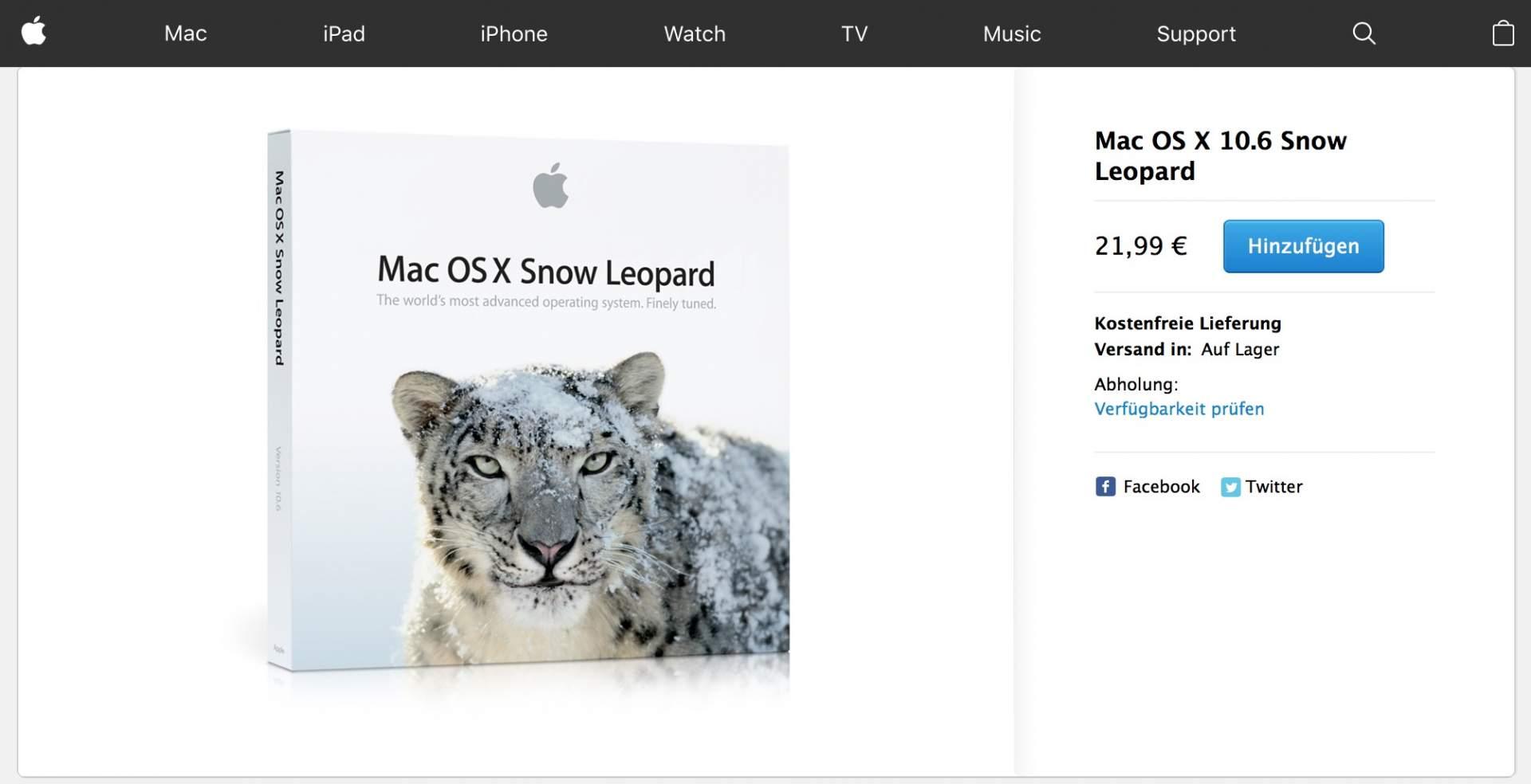 Ja, Ihr könnt Snow Leopard von 2009 noch kaufen.  Es läuft auf allen alten Intel-Macs, die ursprünglich mit Installer-DVDs ausgeliefert wurden.