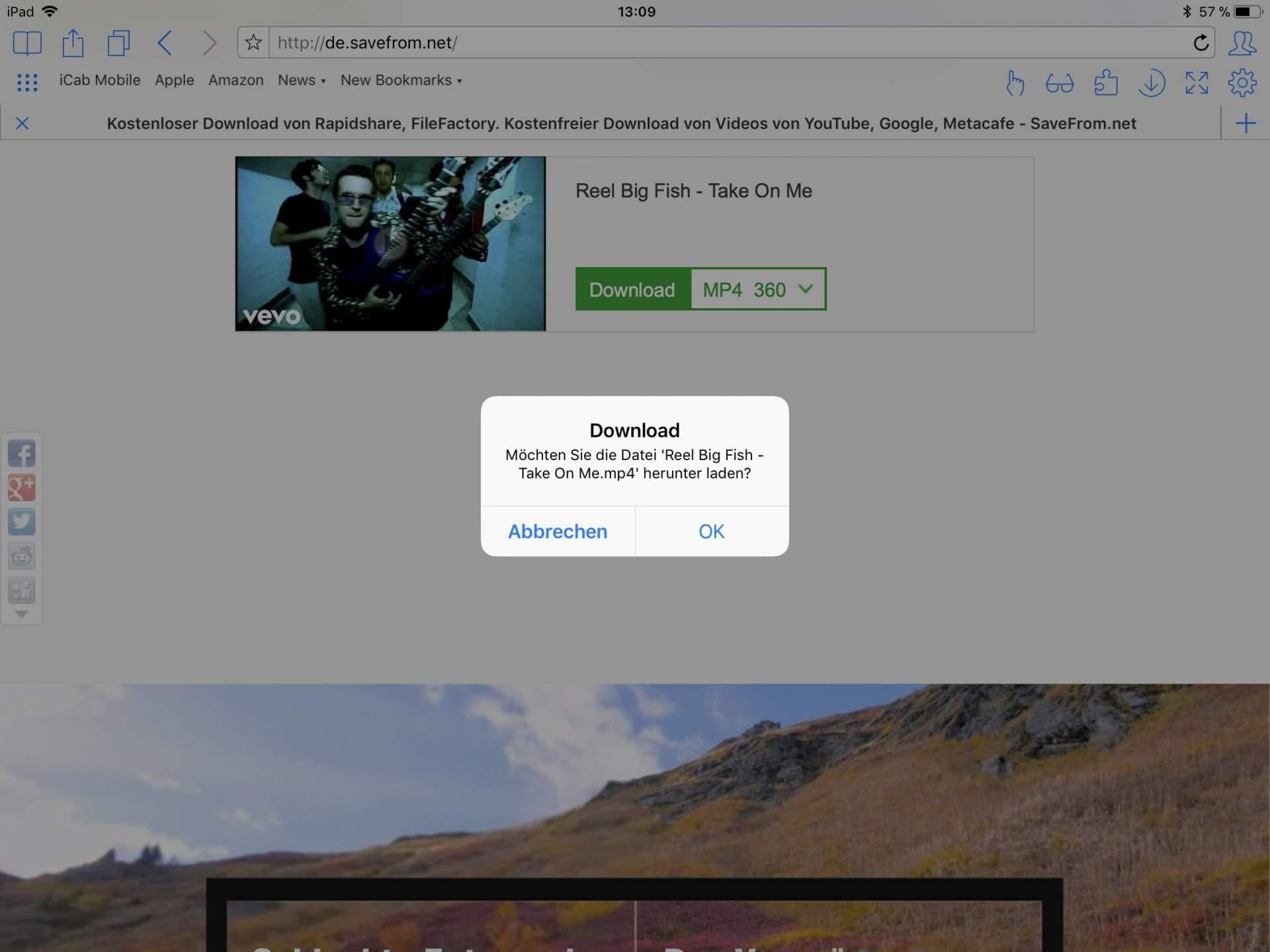Der Browser iCab für iOS kann die Videos problemlos herunterladen.