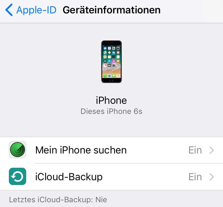 Schaltet die iPhone-Suche aus und erstellt ein Backup.