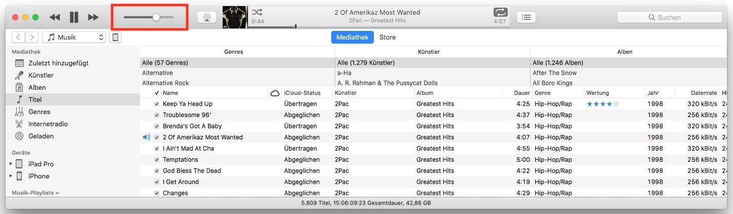 Auch iTunes erlaubt die Regelung der Lautstärke – und zwar unabhängig vom Gesamtsystem.