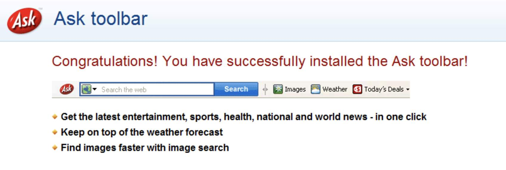 Uh, der ist lästig: Die Ask-Toolbar.