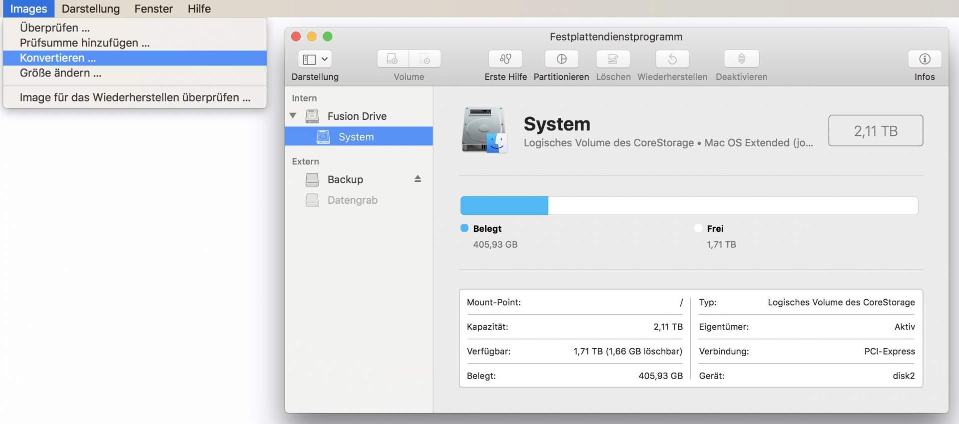 Ihr könnt DMGs ganz einfach mit dem Festplatten-Dienstprogramm konvertieren.
