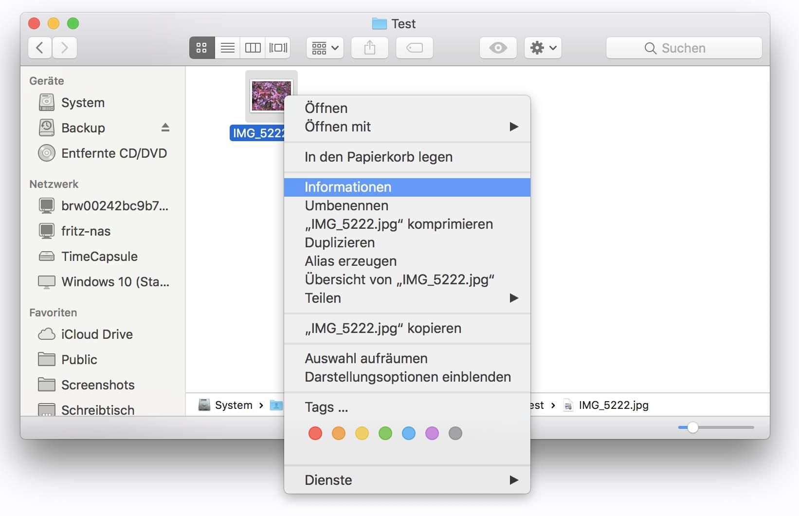 Die Dateitypen-Zuordnung ändert Ihr per Info-Dialog.