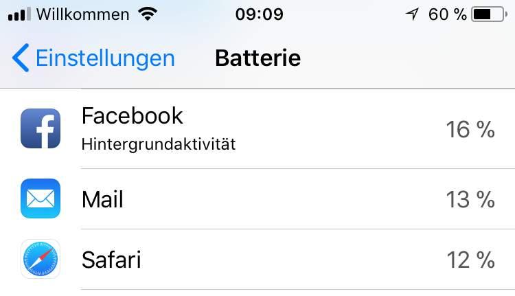 Facebook ist ein fieser Stromfresser auf dem iPhone.