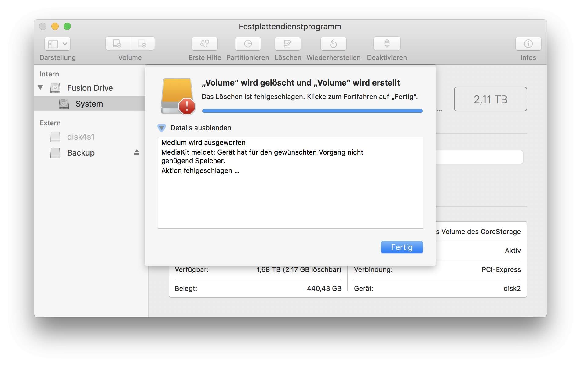 """Das Festplatten-Dienstprogramm seit MacOS 10.13 """"High Sierra"""" kann eine üble Zicke sein."""