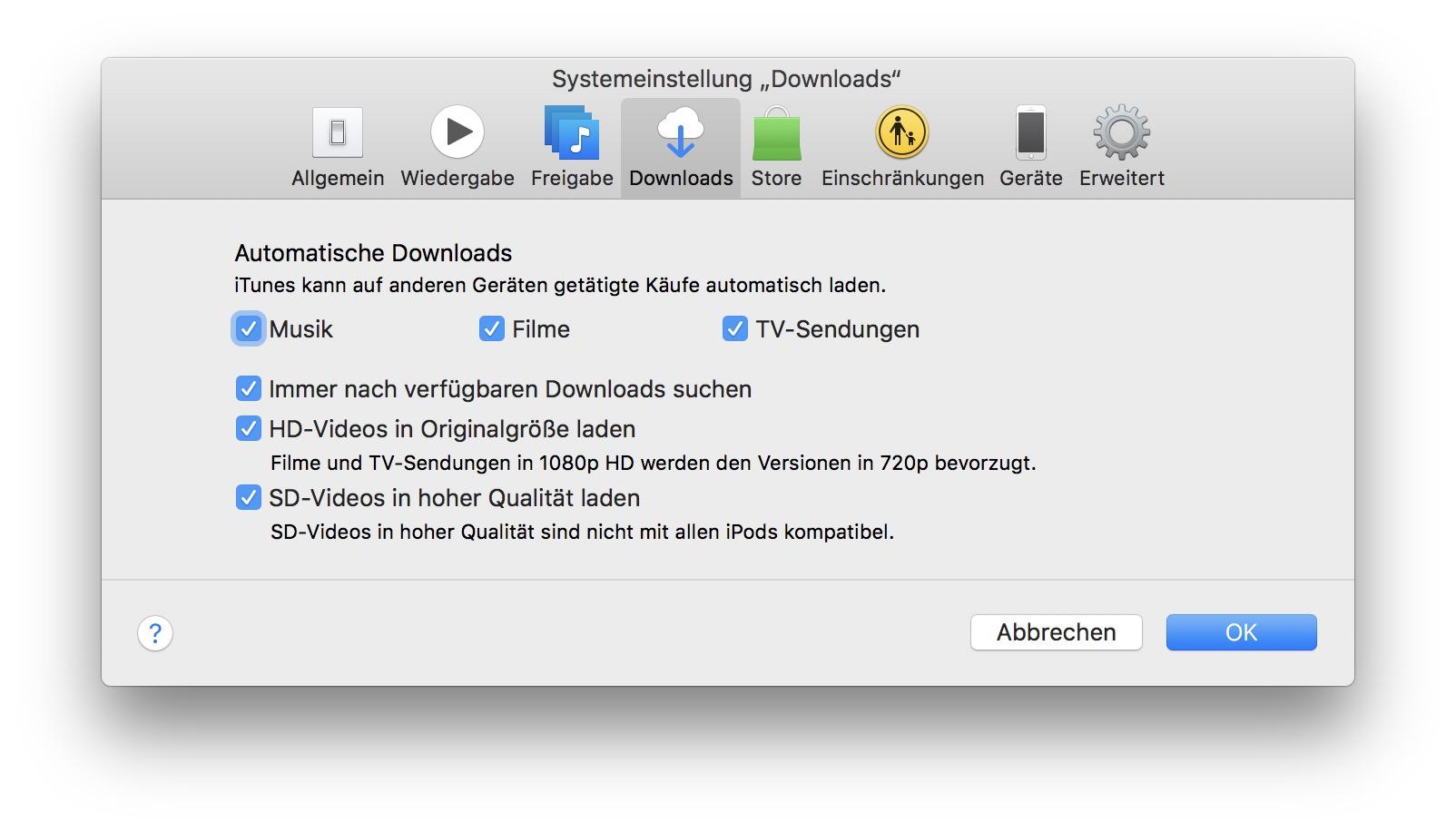 Um Medien automatisch zu laden, müsst Ihr die Funktion auch in iTunes...