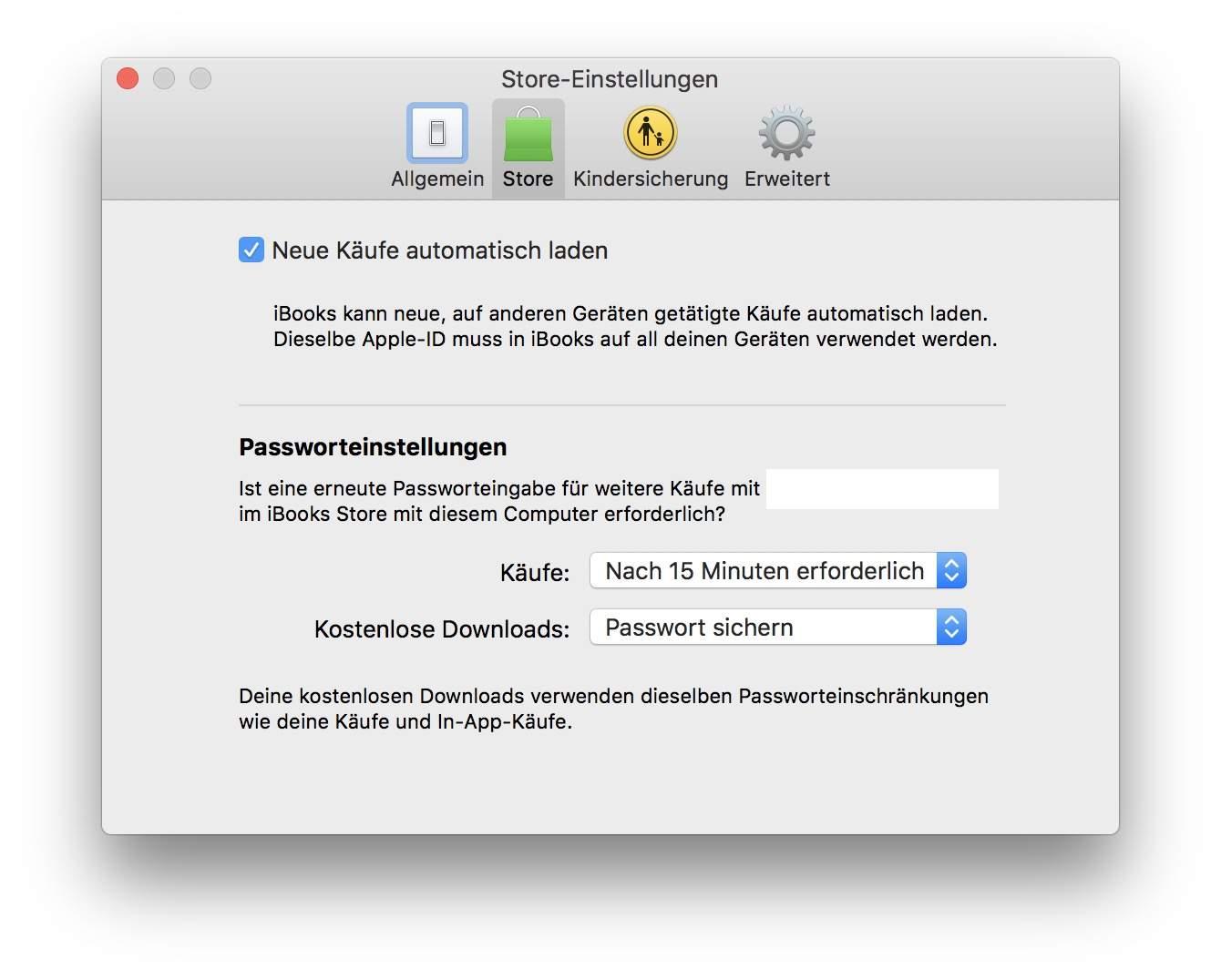 ... und der iBooks-App auf dem Mac aktivieren.