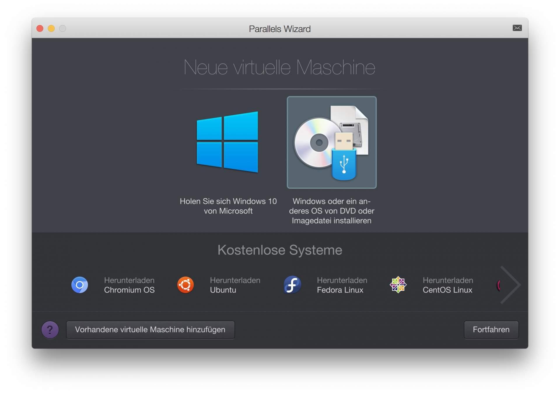 Ihr müsst auswählen, dass Ihr MacOS von einer Image-Datei installieren wollt.