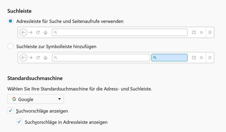 Ihr müsst die Startseite und Suche unter Firefox wiederherstellen.