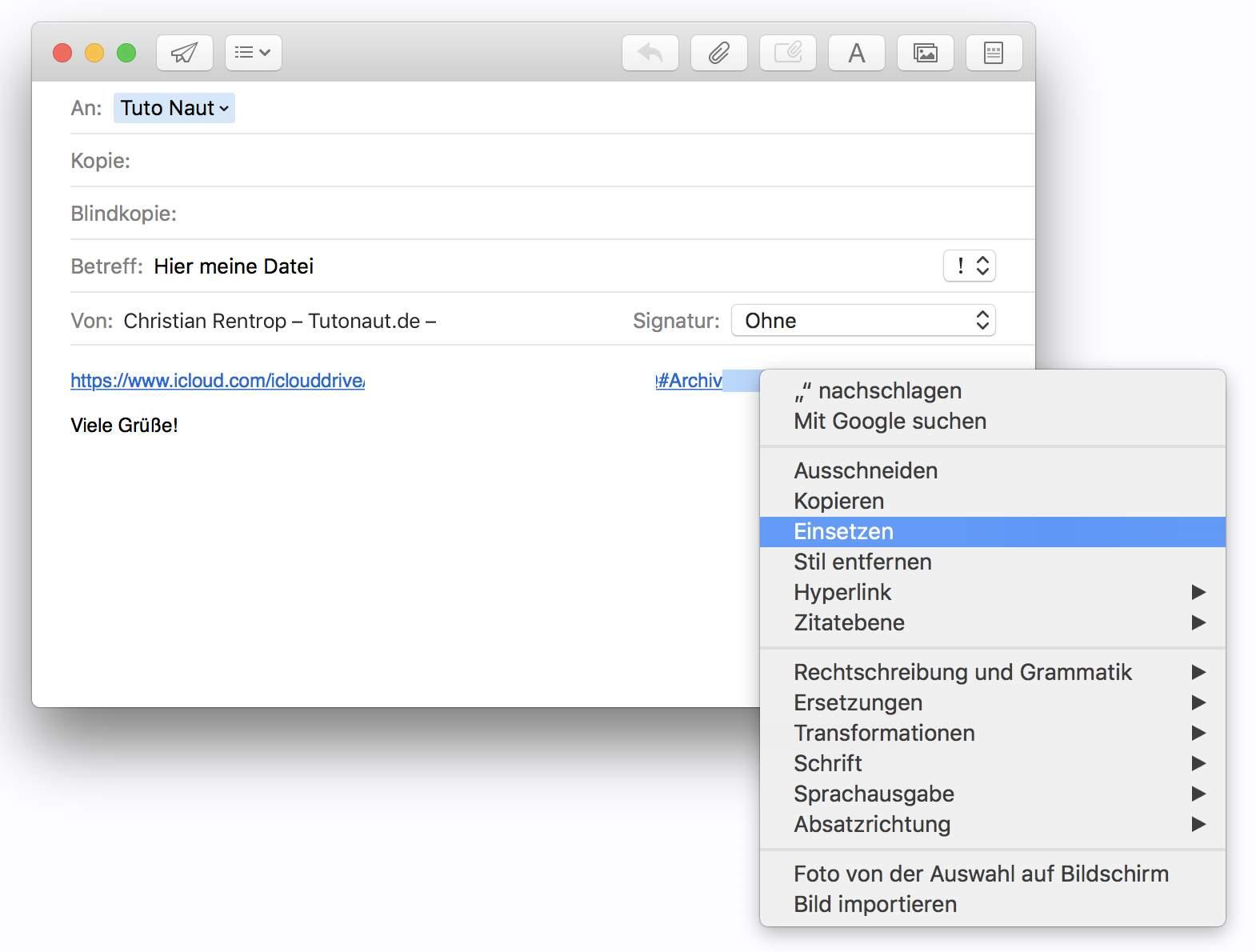 Ihr könnt den Download-Link jetzt verschicken  – egal ob per E-Mail oder Messenger.