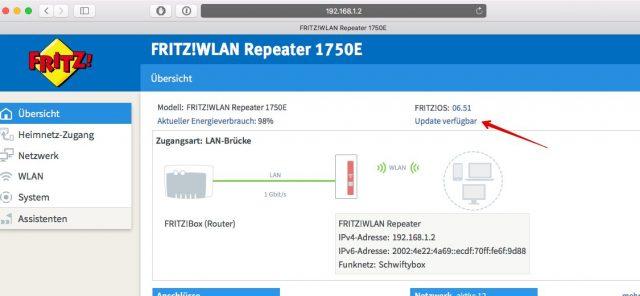 Fritz Repeater Update prüfen