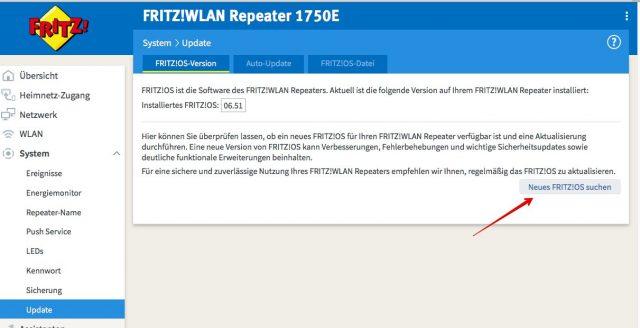 FritzOS Update suchen