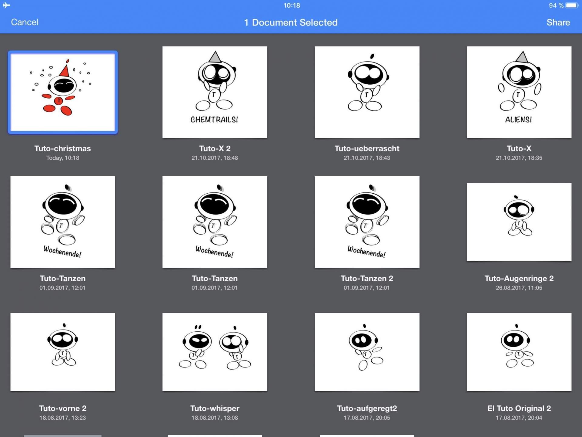Wir nehmen einen ElTuto, den wir mit Graphic auf dem iPad erstellt haben.
