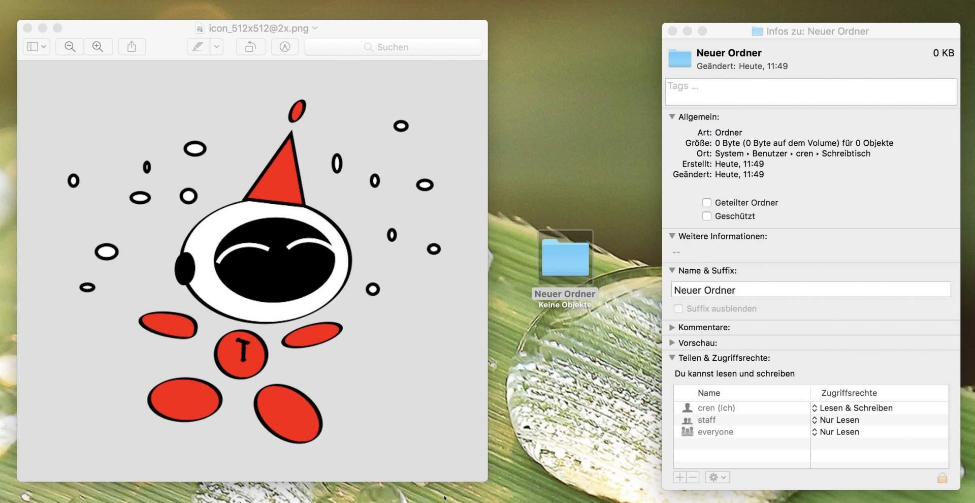 Icon-PNG in Vorschau öffnen und in die Zwischenablage kopieren, anschließend die Informationen der Zieldatei öffnen.