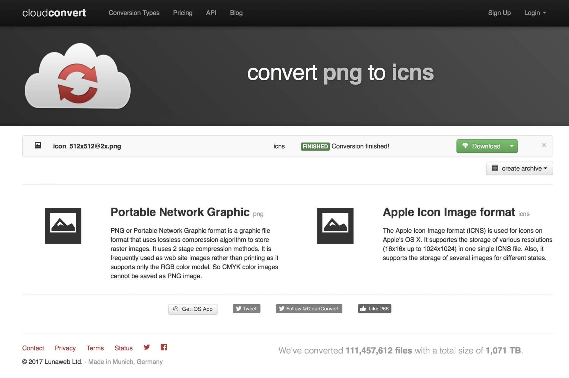 Mit dem CloudConverter sind ICNS-Dateien in zwei Klicks erstellt.