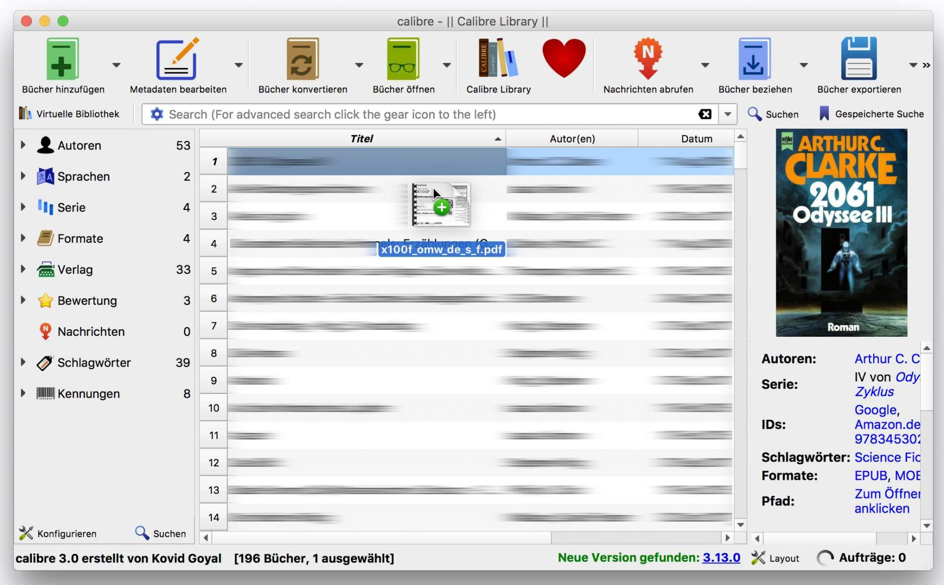 Zieht Eure PDF-Datei ins Calibre-Fenster.