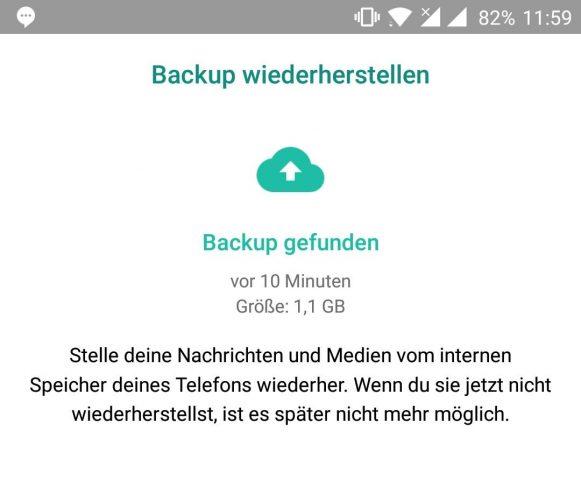WhatsApp Backup wiederherstellen