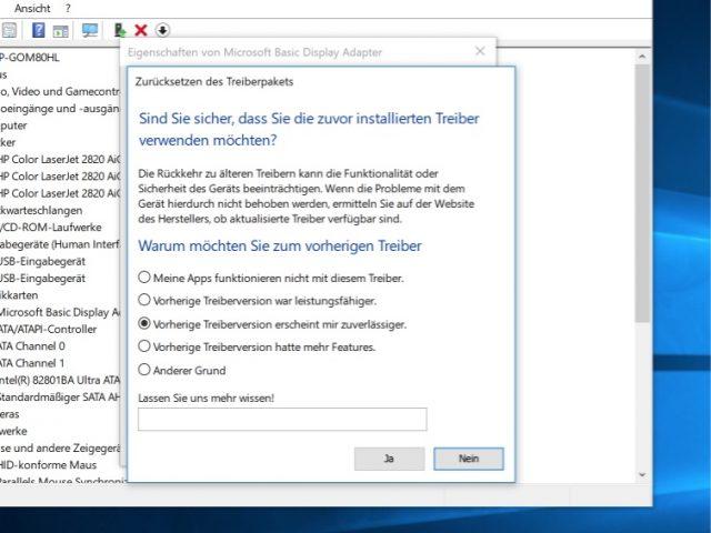 Windows Treiber wiederherstellen