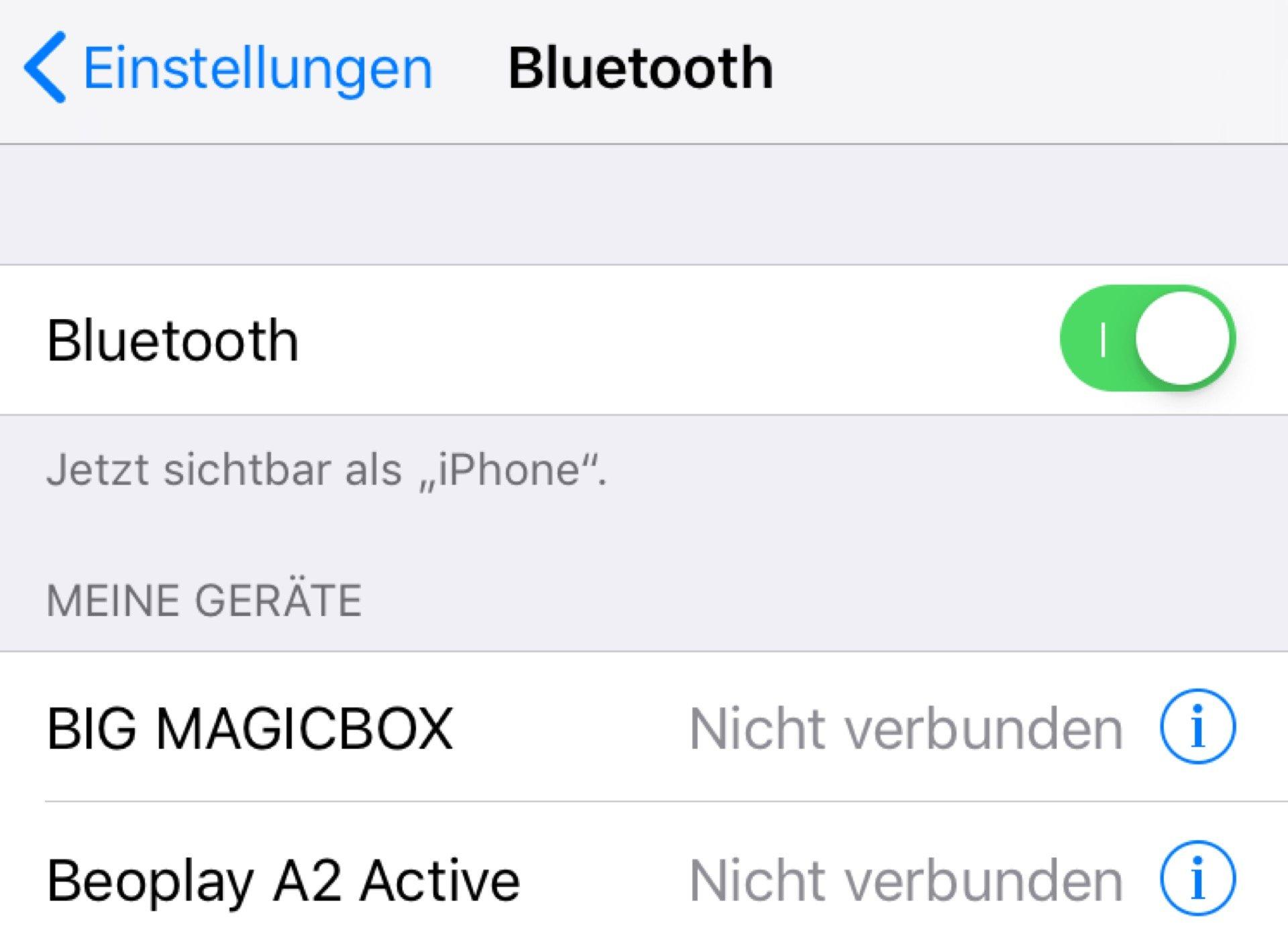 Bluetooth ist ständig aktiv, wenn Ihr es nicht in den Einstellungen abschaltet.