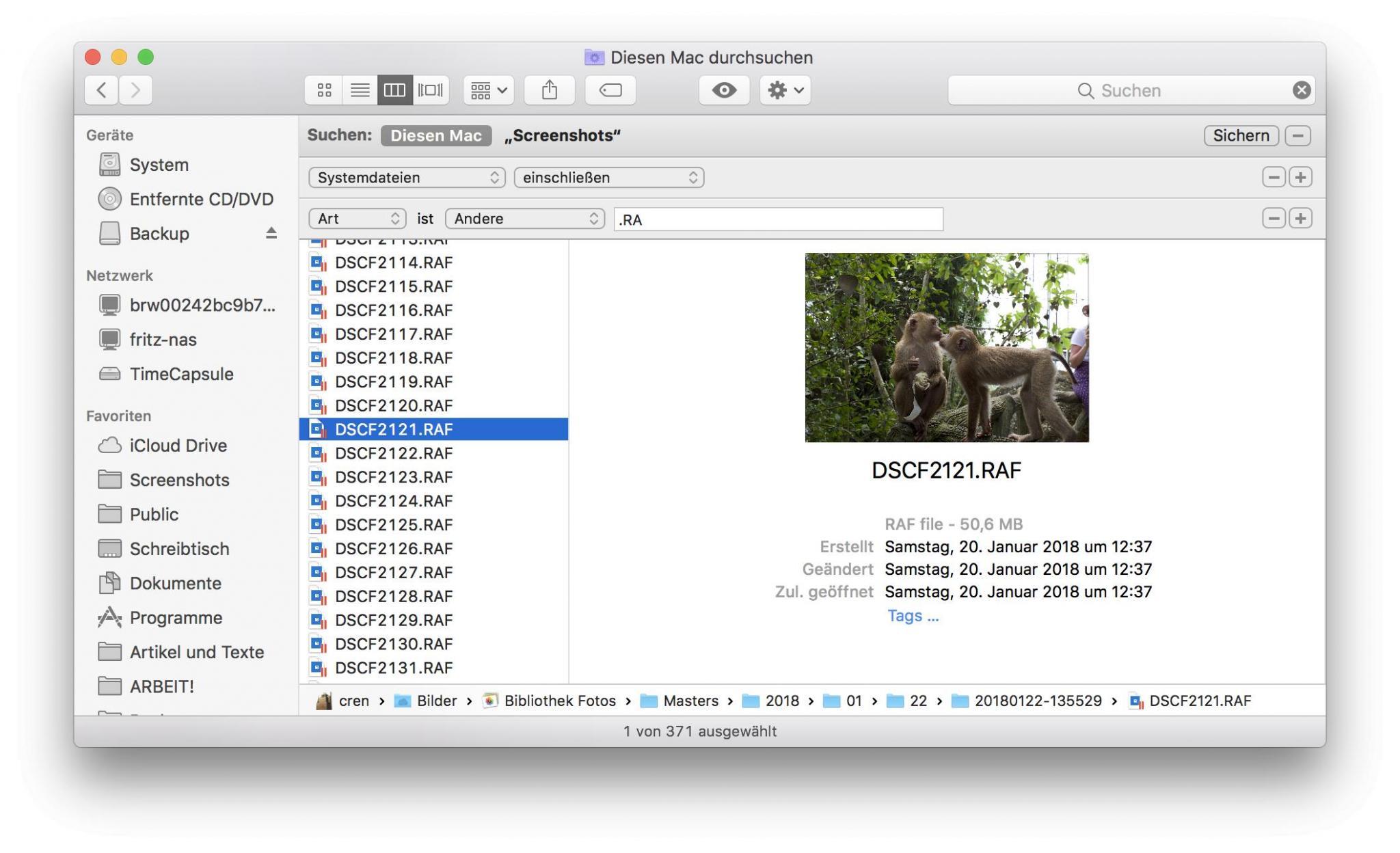 Im Finder können RAW-Dateien gesucht werden.