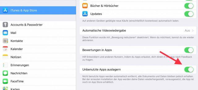 Apps auslagern deaktiveren