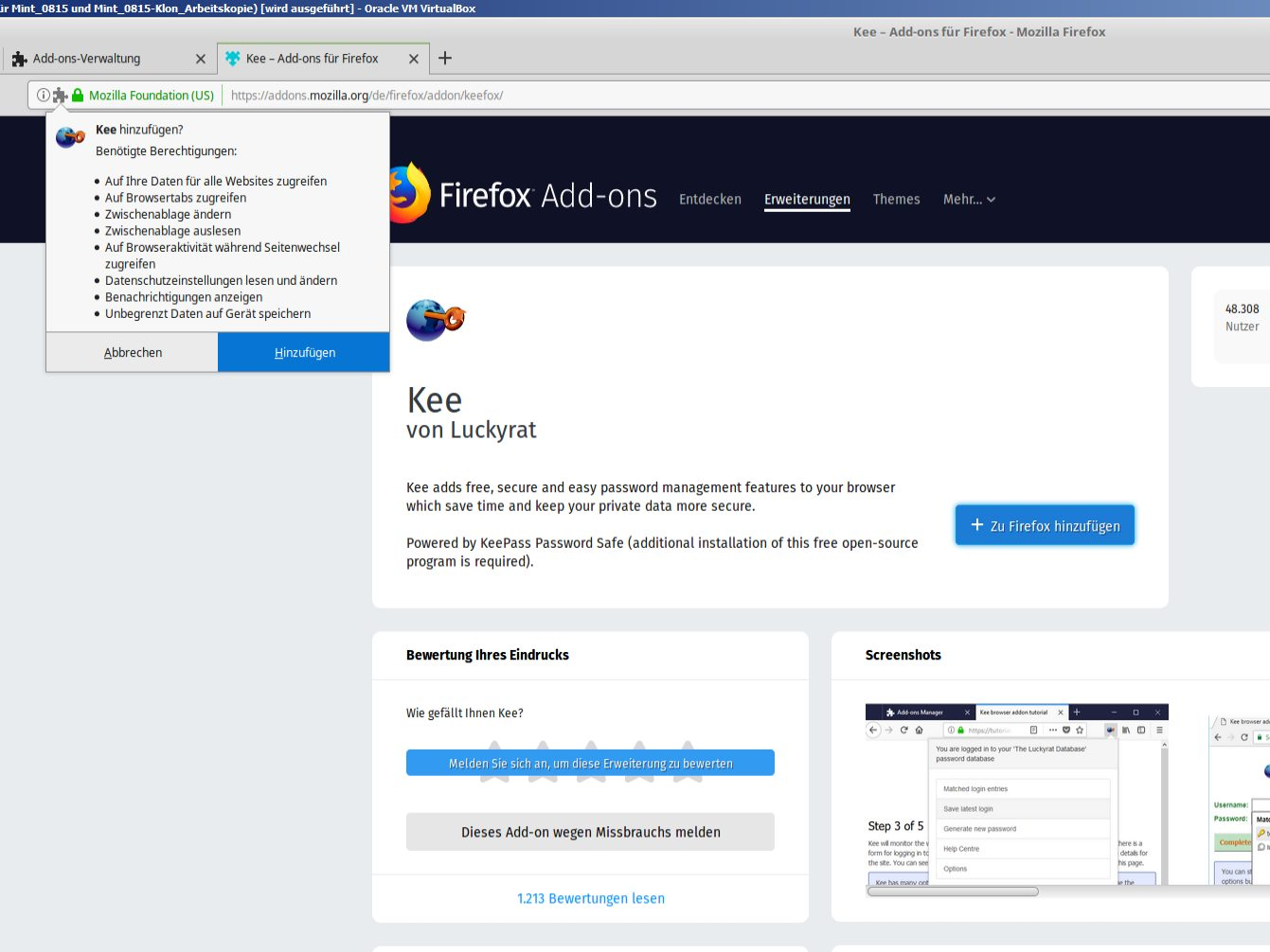 Kee im Mozilla-Add-on-Store