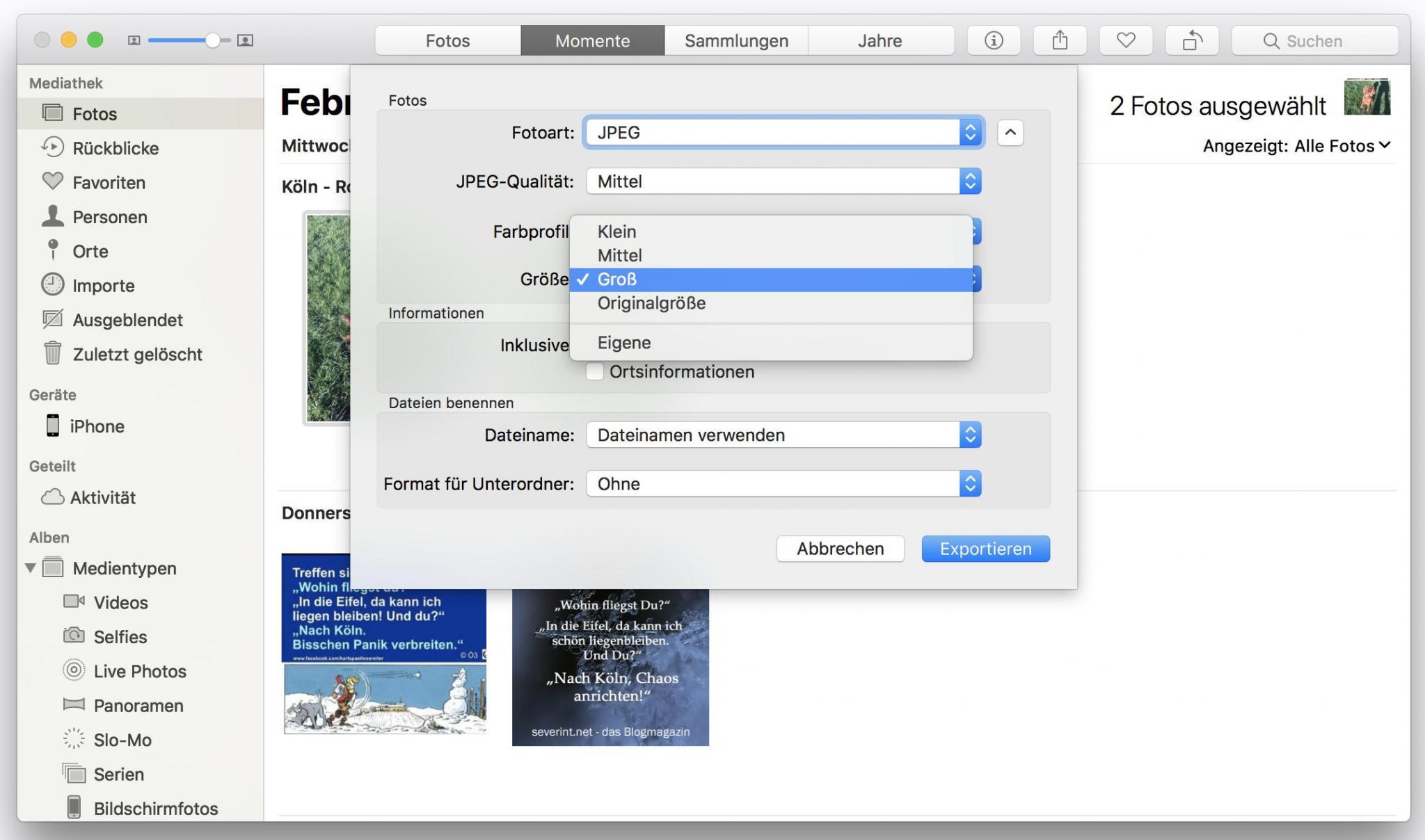 Ihr könnt Bilder direkt in der Fotos-App verkleinert exportieren.