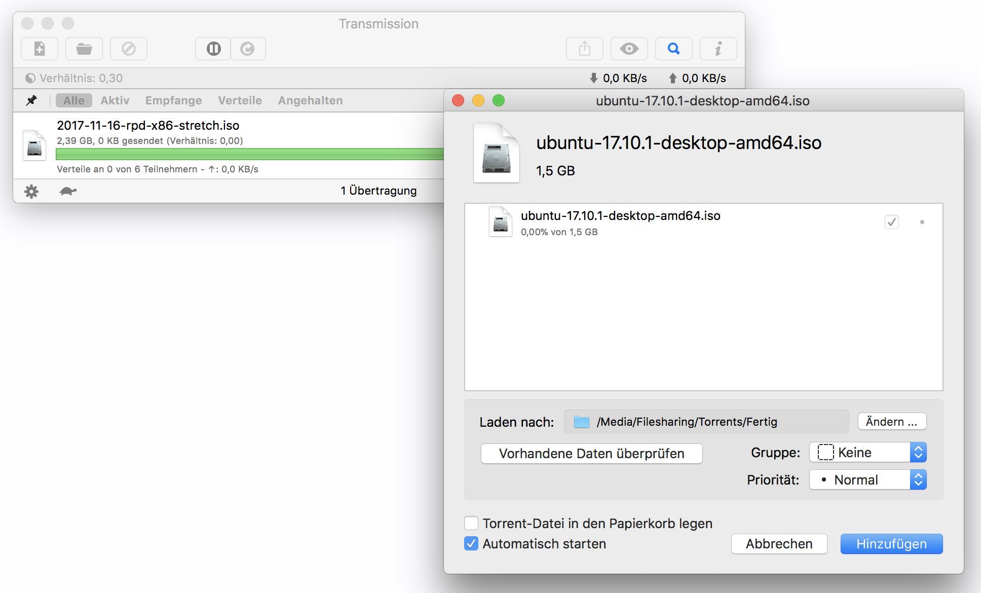 Mit einem Klick übernehmt Ihr den Torrent in die Download-Liste.