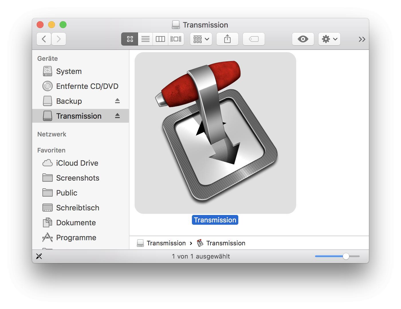 Transmission installiert Ihr, indem Ihr das Disk-Image öffnet und die Datei in den Programme-Ordner kopiert.