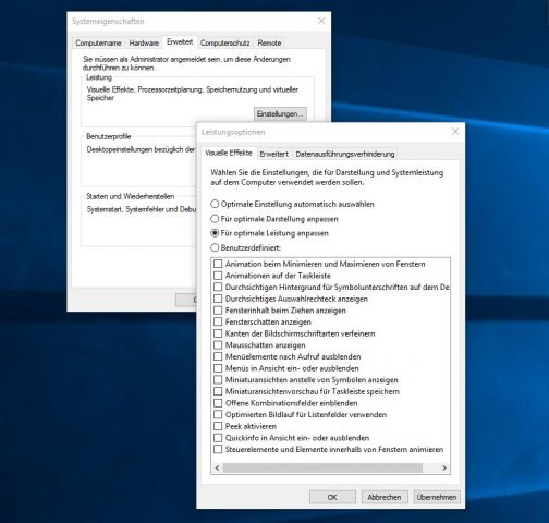 Windows 10 Leistung