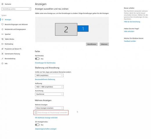Windows primäre Anzeige